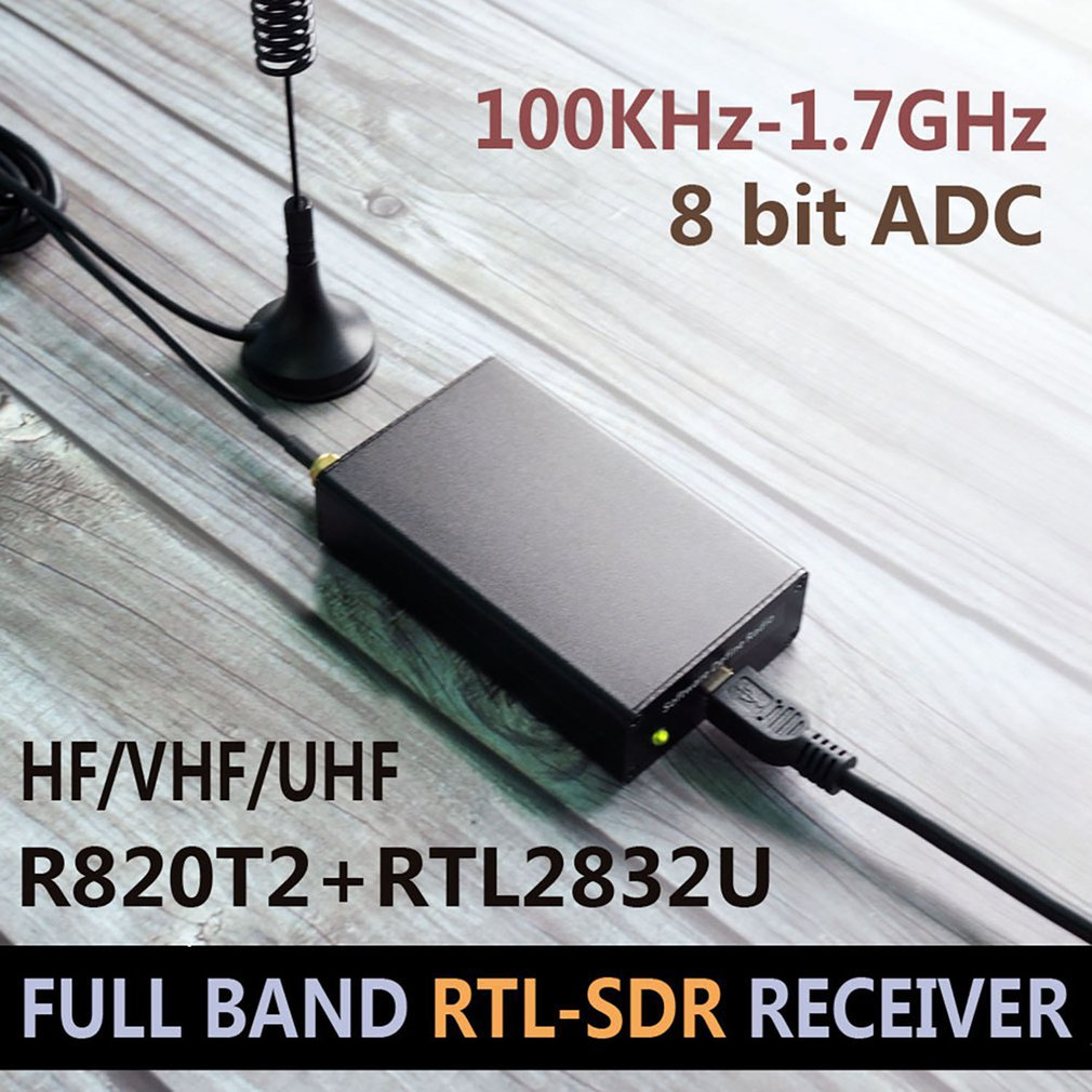 Radio Receiver 100KHz-1.7GHz Full Band UV HF RTL-SDR USB Tuner RTLSDR USB Dongle With RTL2832u R820t2 RTL SDR Receiver