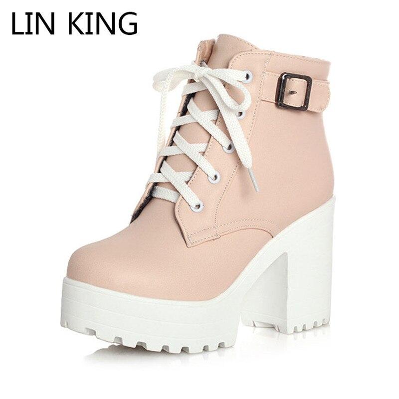 Botas cortas con tacón grueso y hebilla Vintage de LIN KING, botines de plataforma con tacón cuadrado para mujer, botas cortas de encaje a la moda, talla grande