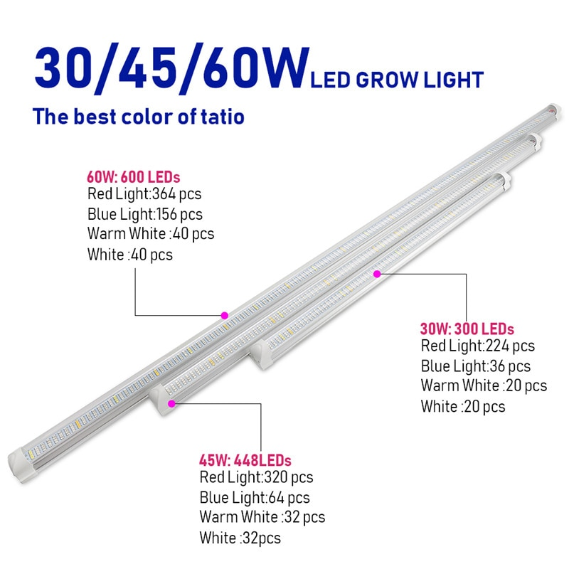 3PCS Red Blue Led Grow Light 60/90/120cm T8 Tube Led Phyto Lamp Strip for Indoor Potted Plants Flower Growth Seed Aquarium Tent enlarge