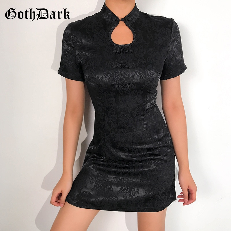 Vestido gótico oscuro estampado gótico Vintage otoño 2020 Mini vestido mujer estético moda ahueca hacia fuera Punk cremallera arco Patchwork