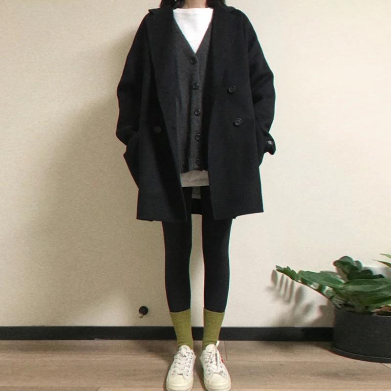 New Coat Autumn And Winter Woolen Women's Woolen Coat Medium Long Small Thickened