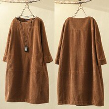 Cord Kleid ZANZEA 2019 Herbst Frauen Kaftan Casual Sweatshirt Langarm Tunika Vestido Weibliche Solide Hoodies Robe Plus Größe 7