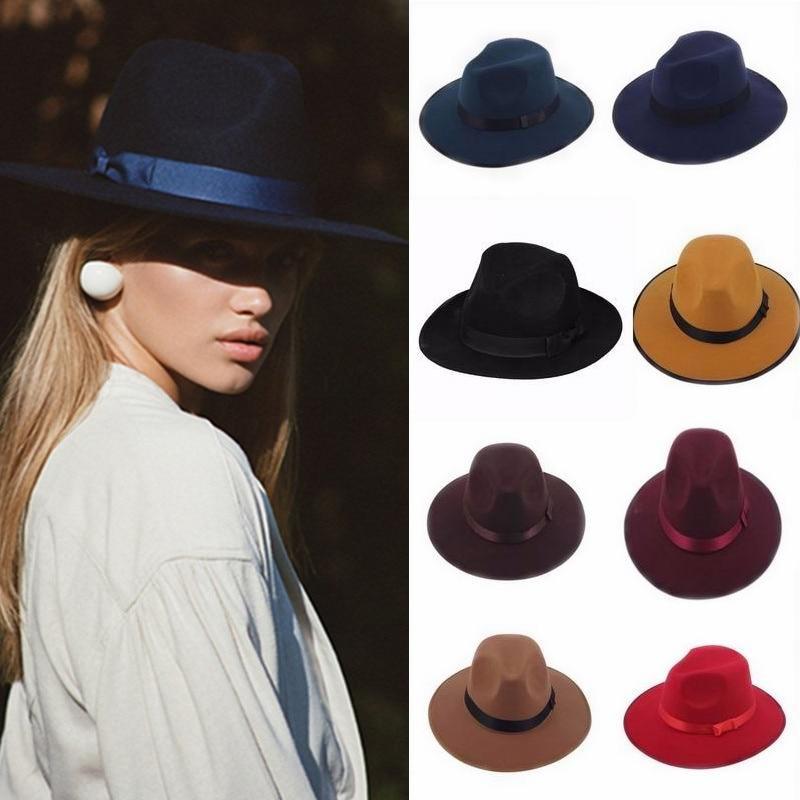 Jazz Hats Vintage Trilby Derby Cap Fashion Women Cloche Unisex Casual Large brim Cowboy Wool caps Panama hat Fedora Cap vintage wool felt octagonal cloche hat