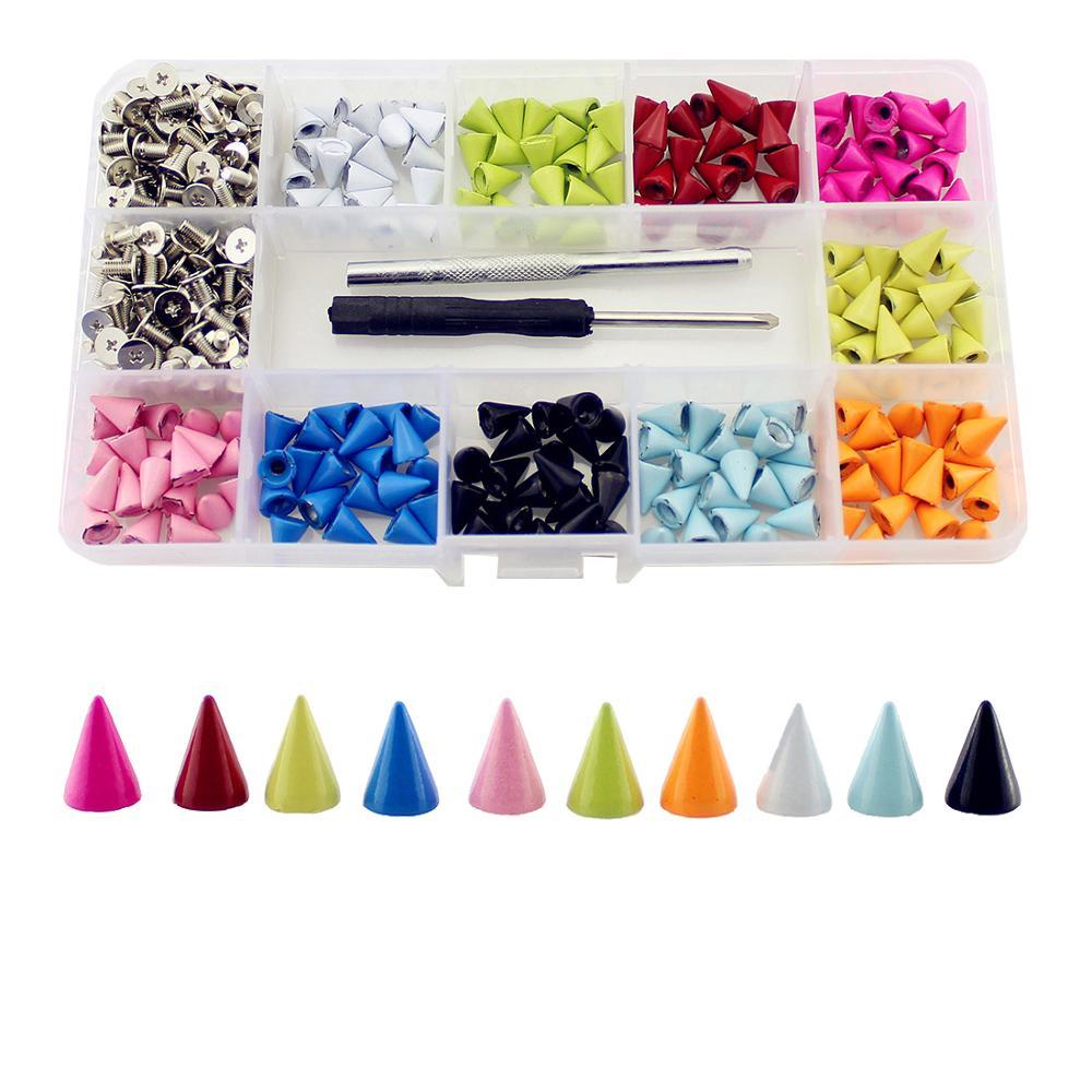 مسامير مخروطية ملونة 7 × 10 مللي متر ، 200 قطعة ، مسامير ملابس جلدية ، أشغال يدوية ، اصنعها بنفسك