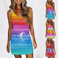 fashionable womens dress casual loose v neck sleeveless tie dye printed pocket camisole mini dress 2021 hot sale robe femme %c3%a9t%c3%a9