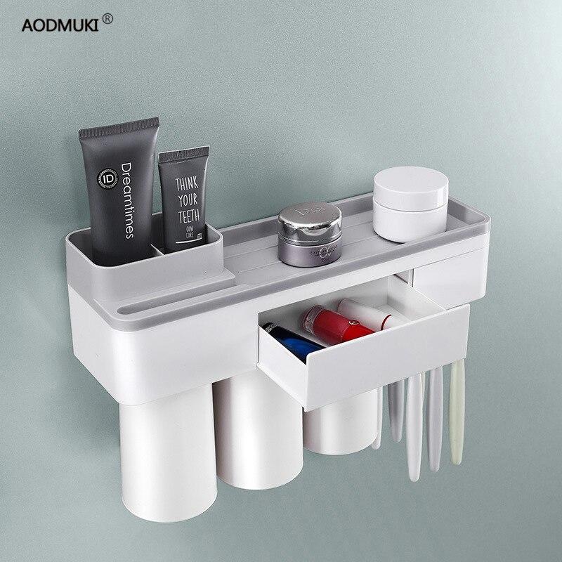 Soporte de cepillo de dientes accesorios de baño organizador de almacenamiento de pasta de dientes vidrio para cepillos de dientes estante adsorción magnética con taza