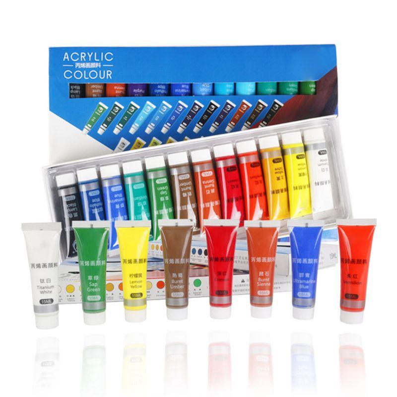 Pintura acrílica profesional de 12/24 colores 15ml tubos pintura de dibujo pigmento...