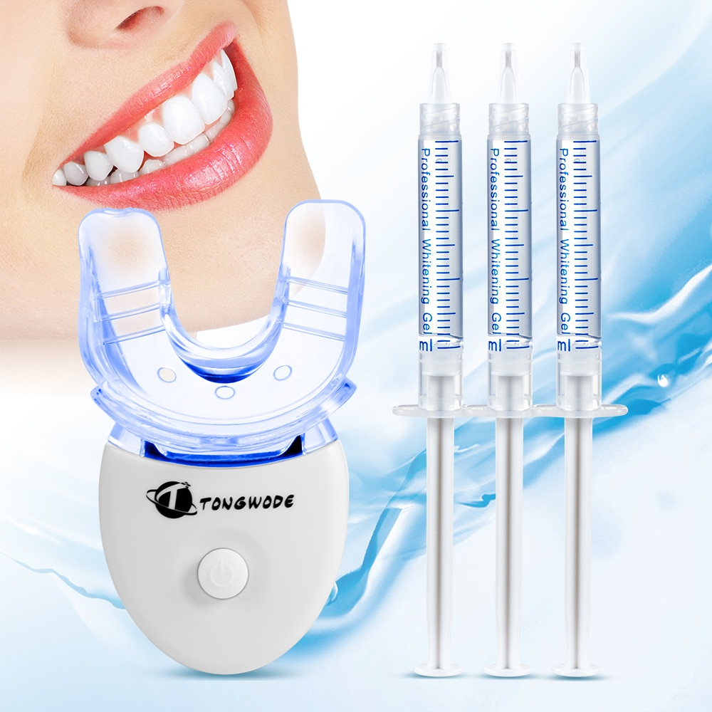 Dental Bleaching Teeth Whitening Kit with Teeth Whitening LED Accelerator Light Peroxide Gel Pen Tooth Whitener Dental Tools