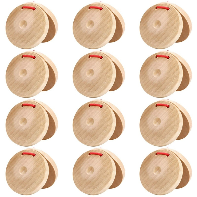 12 قطعة آلة موسيقية Castanets ، Castanets خشبية قرع ، التصفيق مجلس الموسيقى التعليمية ، للمدارس والحفلات