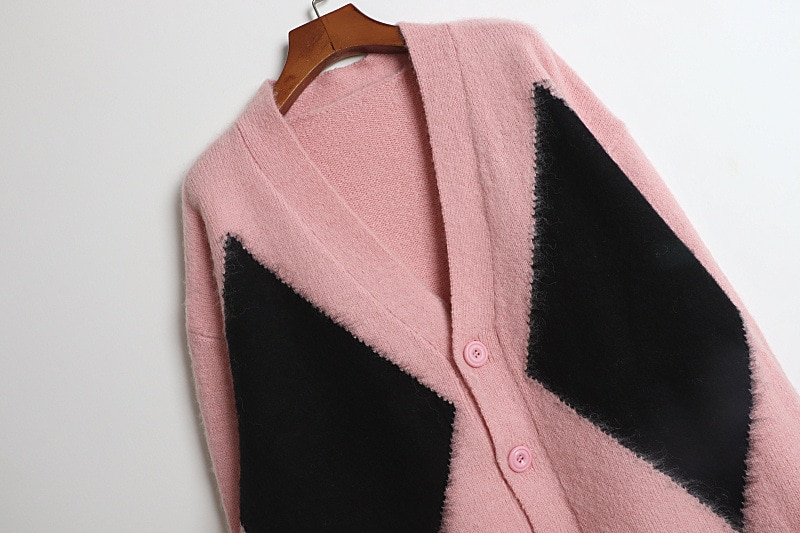 Knit Sweaters Women V Neck Cardigan  Sweater Top Green pink  Long Sleeve Casual Sweater enlarge