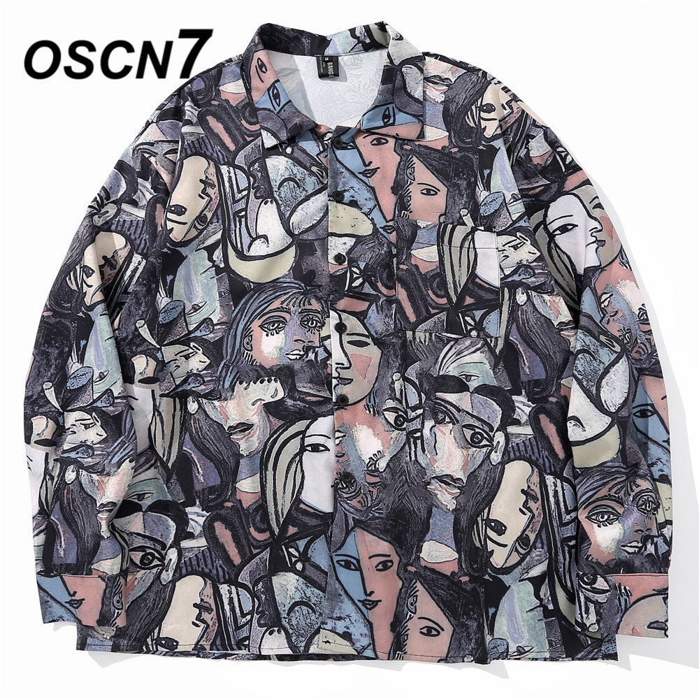 Oscn7 casual impresso manga longa camisa masculina alta streetwear 2020 outono camisa feminina retro camisas harujuku camisa dos homens 0632