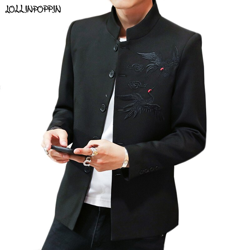 Chaqueta de hombre estilo chino con bordado de grulla roja coronada, cuello mandarín, Túnica para hombre, traje, chaqueta con cuello levantado, chaqueta Mao