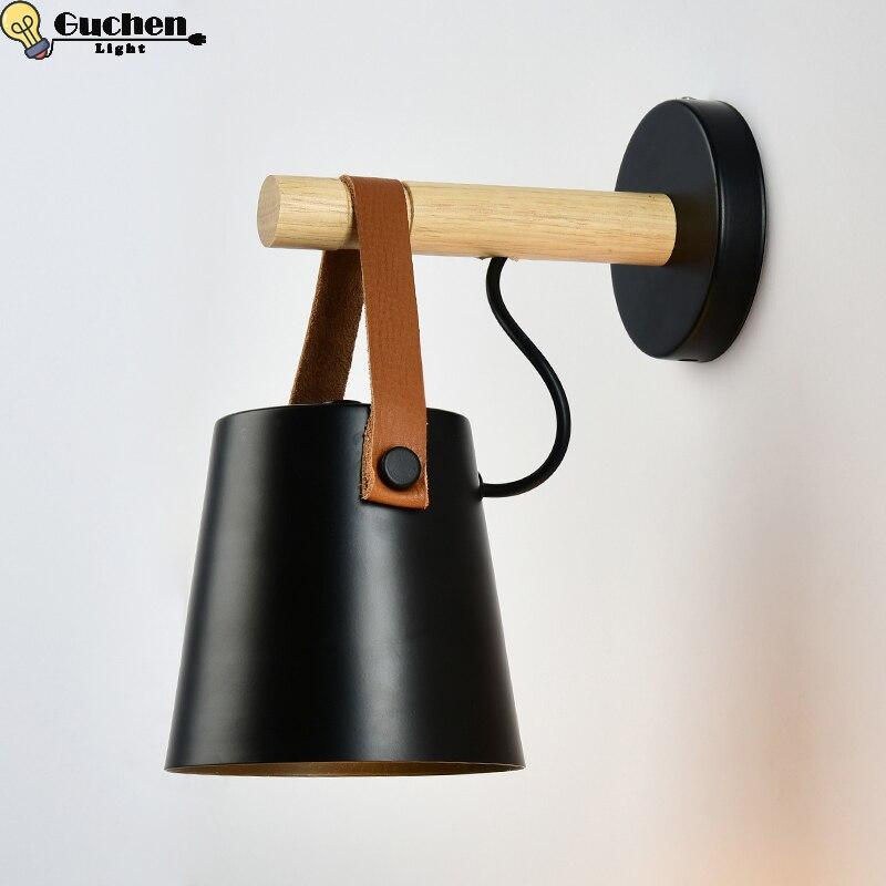 Lámpara de pared nórdica candelabros para cama de noche de dormitorio en casa, cabecera de Cocina, Bar, café, accesorios de iluminación, luces LED en la pared, Hierro de madera E27