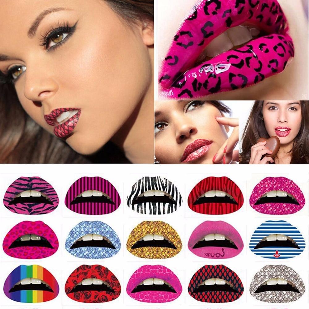 3Pcs Temporary Lips Tattoo Sticker Lipstick Art Transfers Many Designs Colorful Fancy Dress Party Lip Makeup Random Color