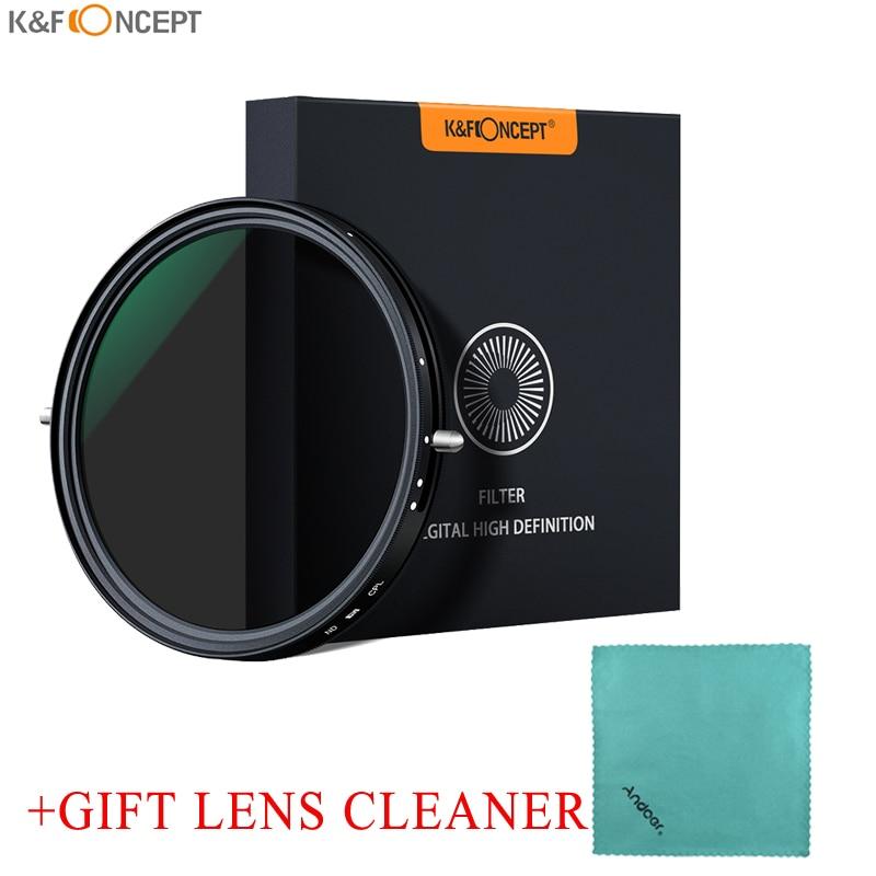 K & F مفهوم 2-في-1 قابل للتعديل الإستقطاب CPL متغير ND تصفية عدسة 67 مللي متر/72 مللي متر ترويسة 5 وقفة ND2-ND32 لكانون سوني نيكون كاميرا