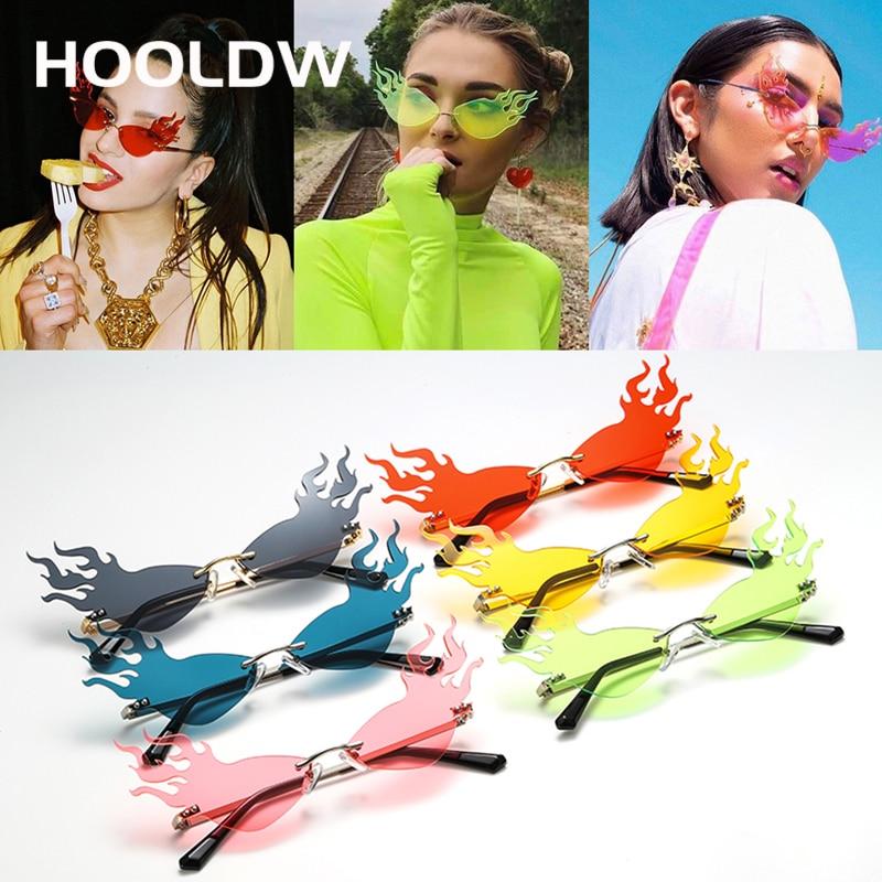 Fashion Fire Wave Flame Sunglasses Women Men Rimless Sun Glasses Eyewear Luxury Trending Wide Side P