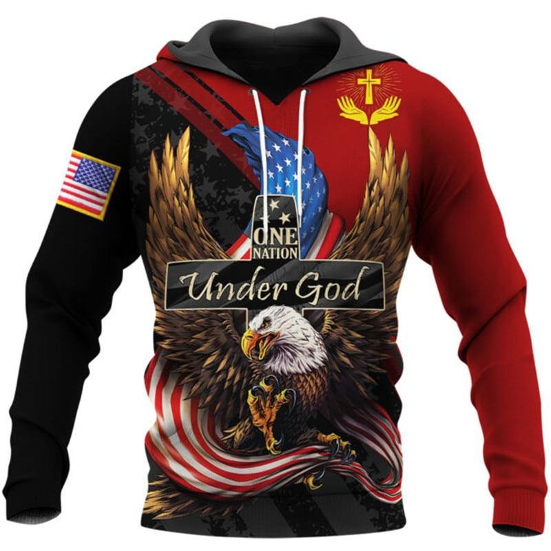 One Nation Under God 3D Fully Printed Men's Hoodie New Fashion Unisex Sweatshirt Harajuku Casual Zip Jacket DY44 недорого