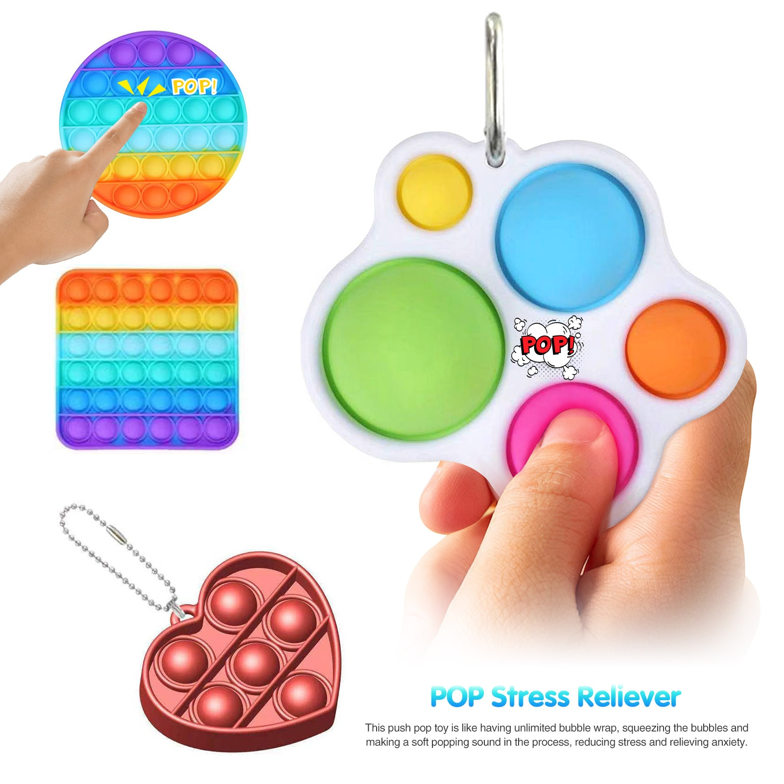 23PCS Silicone Sensory Toy Set Durable Decompression Sress Reliver Noodles Rope Bean Keychain Bubble Toys For Children Adult enlarge