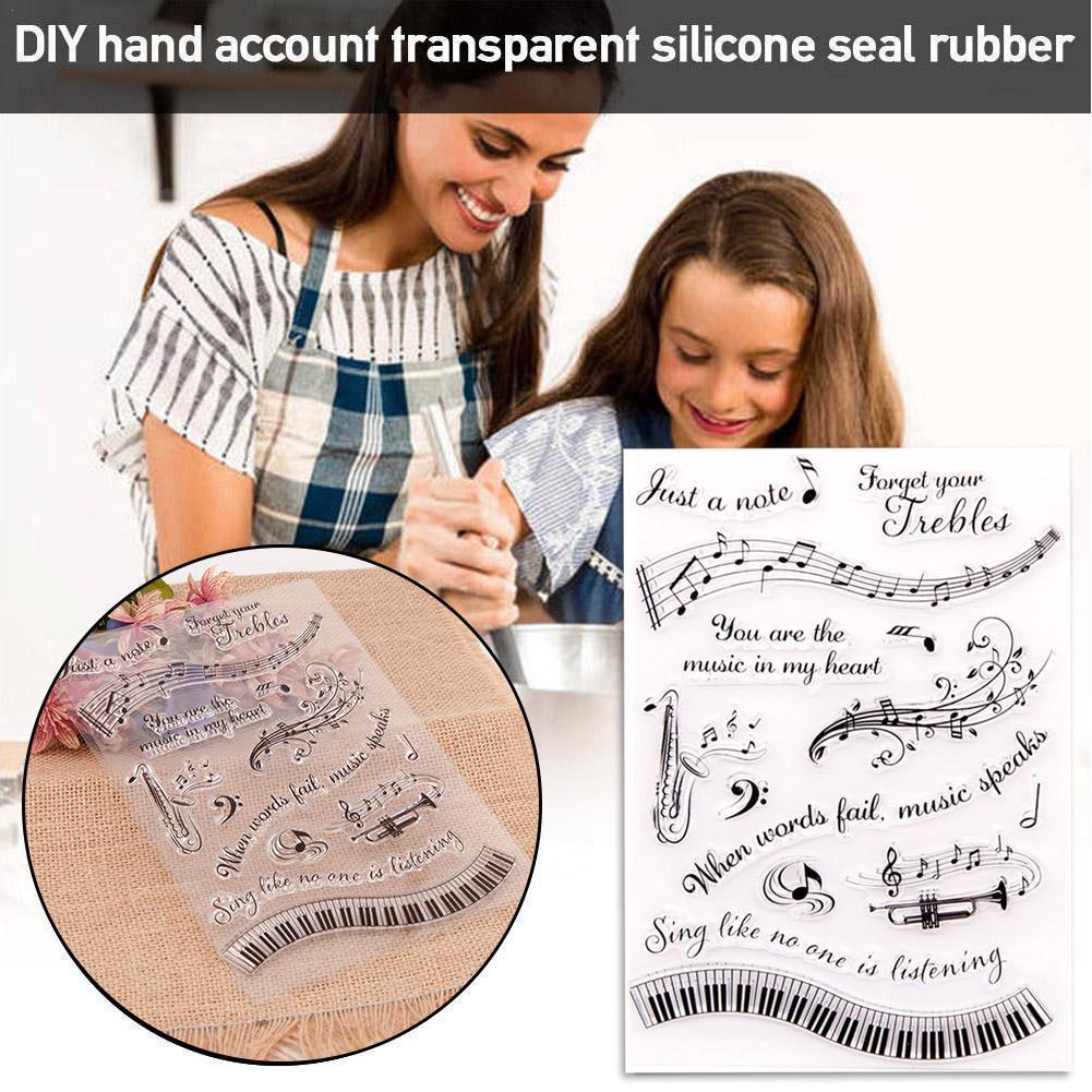 Transparent Seal 2021 Music Seal Words Alphabet Letter Craft Supplies Transparent Card For DIY Paper Stamps Scrapbooking Ma Q0K5