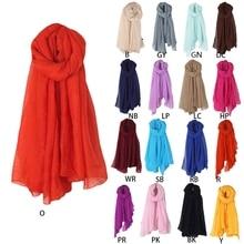 Women Solid Color Long Scarf Wrap Vintage Cotton Linen Large Shawl Hijab Elegant