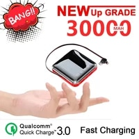 30000mah mini power bank with cable dual usb 2led lights fast charging power bank outdoor battery charger for iphone huawei