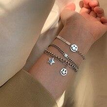 Bracelet en argent Sterling S925 pour femmes, bijoux Hip Hop Punk, étudiant avec sourire, vente en gros