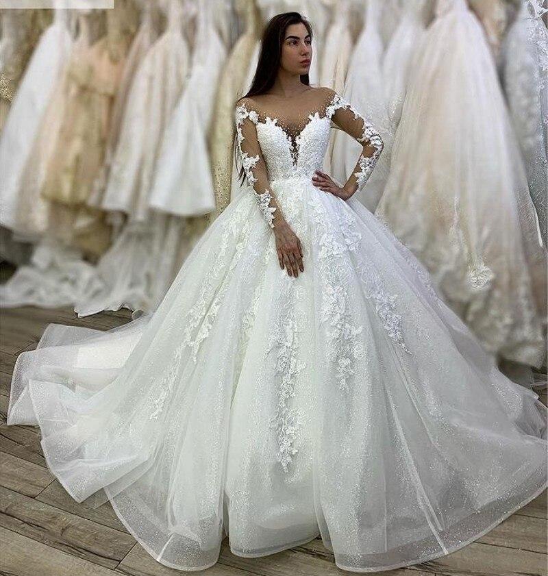 Сексуальное кружевное платье для свадебной вечеринки 2020, бальные платья с вырезом под горло, свадебное платье высокого качества, новые свад...