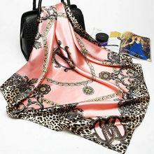 New Fashion Ladies Women Floral Bandana Square Head Neck Scarf Wrap Satin Silk Vintage Shawl Pink Beige Blue Green