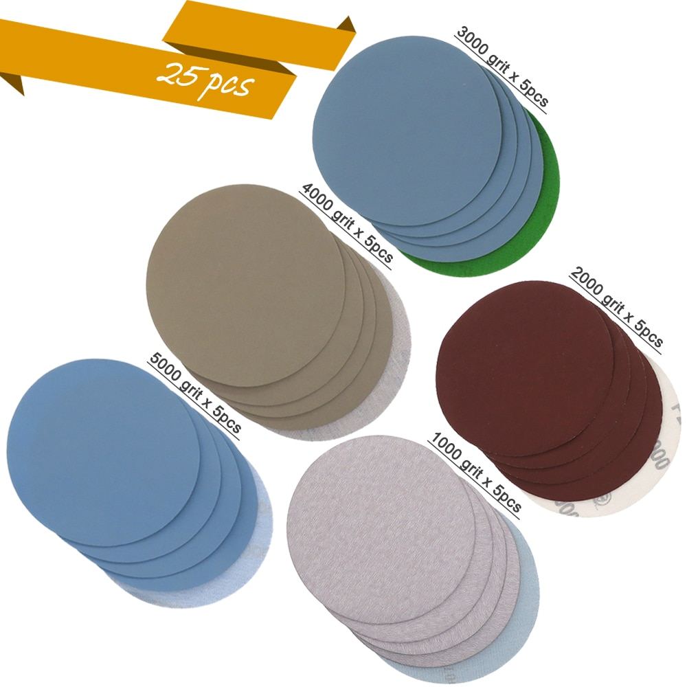 25 vnt. 1/2/3/4/5 colių švitrinio popieriaus kablio ir kilpos šlifavimo diskų įvairovė 1000, 2000, 3000, 4000 ir 5000 grūdelių šlifavimui ir poliravimui
