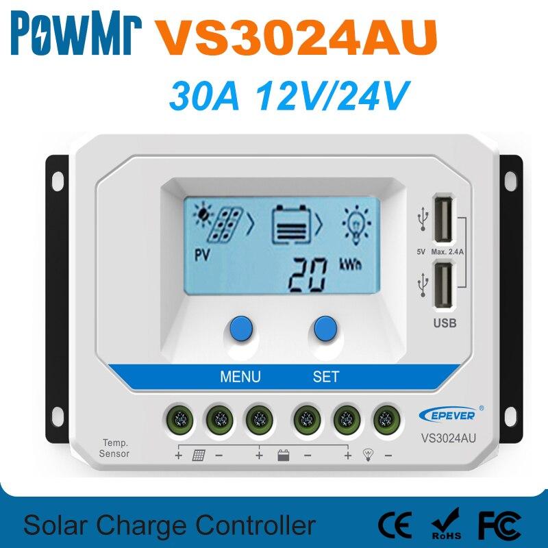 EPever-وحدة تحكم شاحن بالطاقة الشمسية 30A ، 12 فولت ، 24 فولت ، إضاءة خلفية ، شاشة LCD ، منظم طاقة شمسية عالي الكفاءة ، PWM مع مخرج USB مزدوج VS3024AU