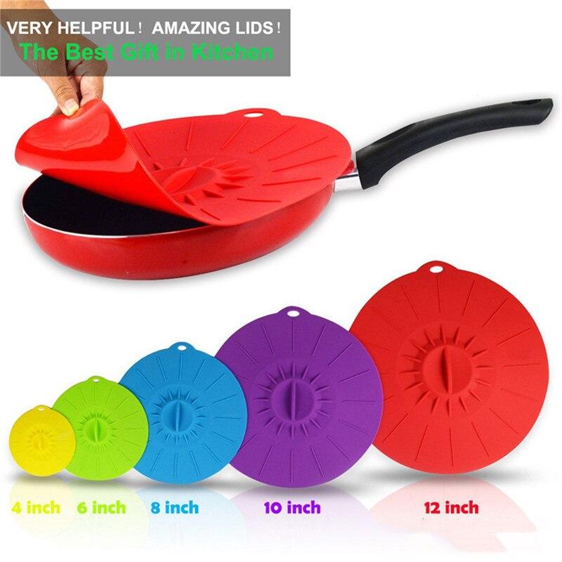 Juego de 5 tapas de silicona para cuencos de microondas, tapas para alimentos, tapas para ollas, tapas para tapas de sartenes, tapas para cuencos, utensilios de cocina