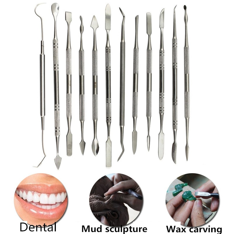 1set dental wax technicians chisel knife mechanic wax wax kit tool kit dental materials sl521 12 Pcs Metal Spatula for Wax Knife Kit Sculpture Tools Blade Dental Knife Carve Pottery Clay Carving Modeling Jewelry Equipment