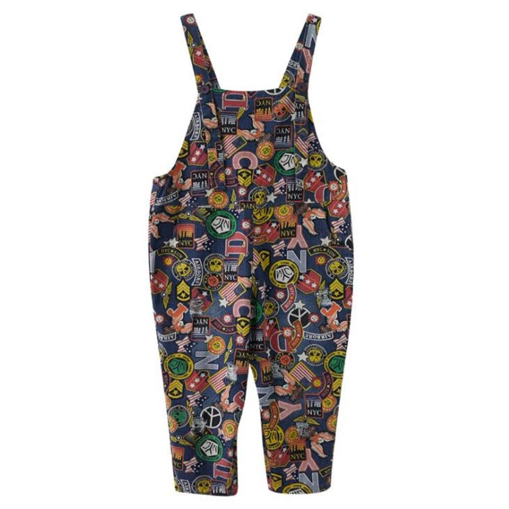 Denim Overalls Jeans Jumpsuits Women Rompers Ladies Bib Loose Casual Shoulder Strap Long Playsuit Pockets Cartoon Jumpsuit