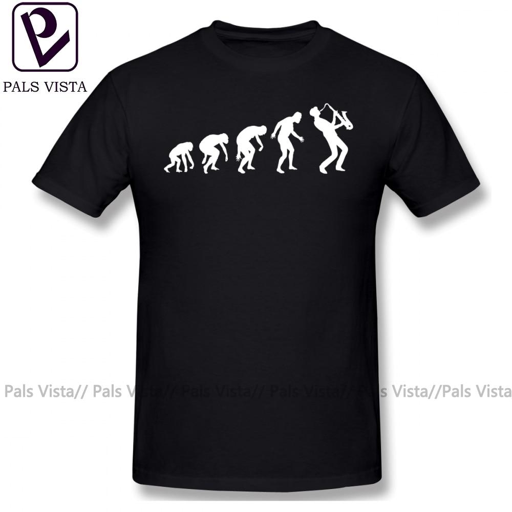 Saxophone T Shirt Evolution Of Man T-Shirt Graphic Casual Tee Cotton Fun Male 6xl Short-Sleeve Tshirt