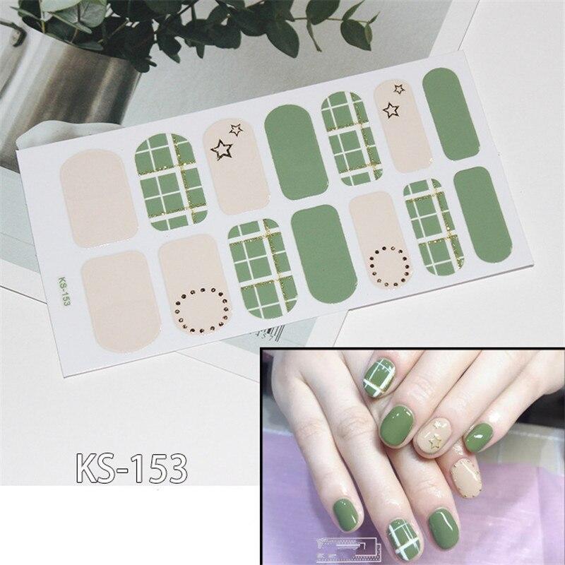 Lamemoria1 hoja oso cara sonriente a cuadros uñas polaco tiras doble terminado adhesivo Color sólido puro DIY pegatina envoltura
