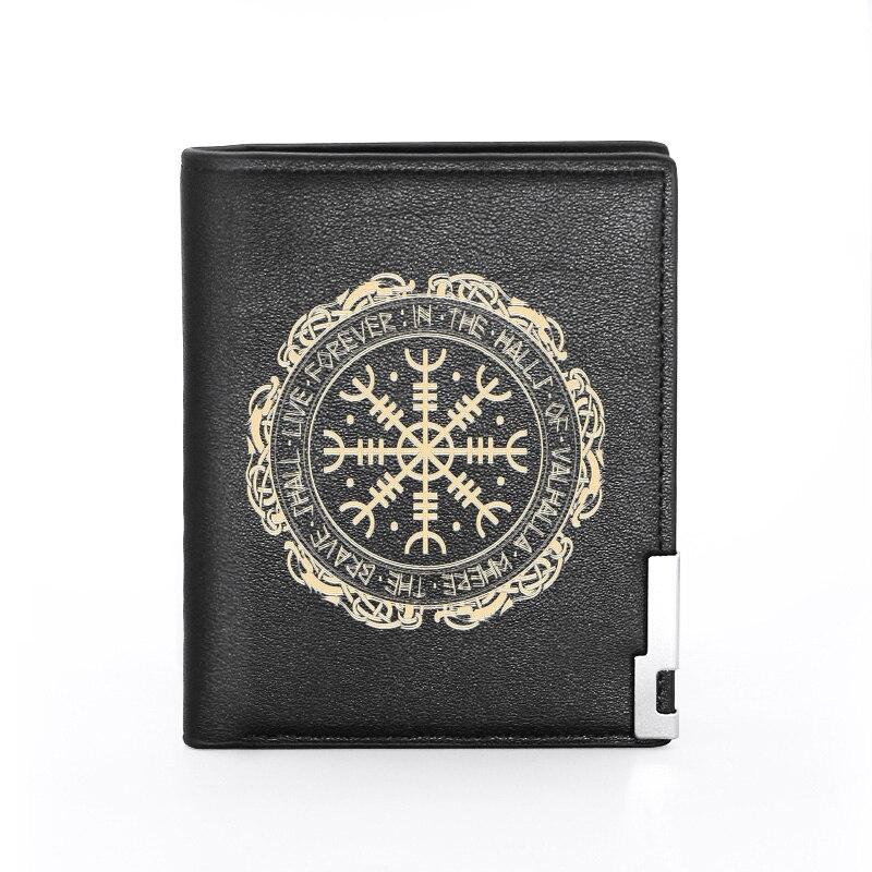Clássico vintage viking símbolo impressão de couro do plutônio carteira de homem feminino banco titular do cartão de crédito bolsa curta masculino padrão carteiras