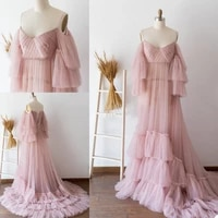 ladies sleeveless strapless back banded robe see through tailing photography long dress nightgown