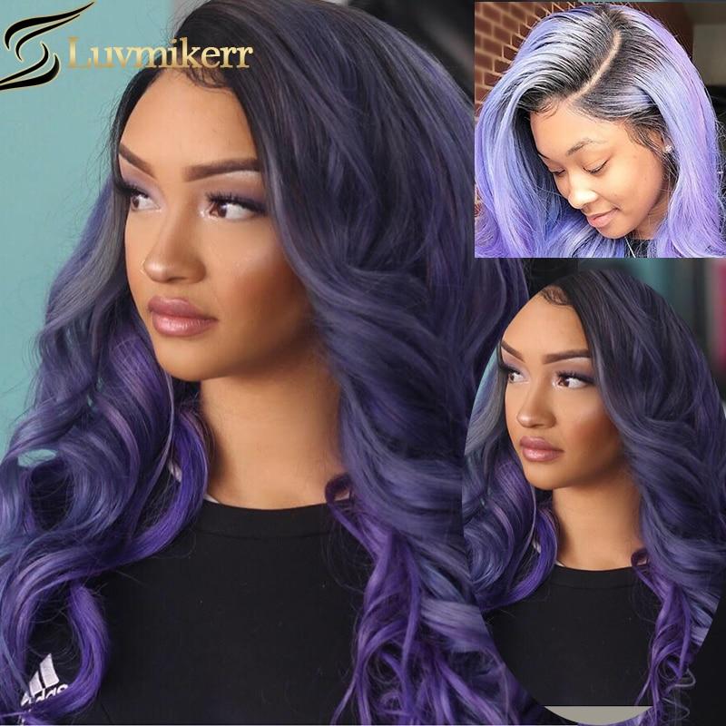 Эффектом деграде (переход от темного к фиолетовый Цветной волна 13x6 Hd полный парик фронта шнурка человеческих волос 613 блондинка для Samsung Galaxy ...