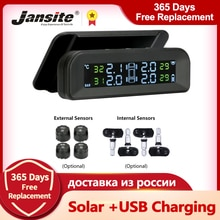 Jansite TPMS Car Tire Pressure Alarm Monitor System Real-time Display Attached to glass wireless Sol