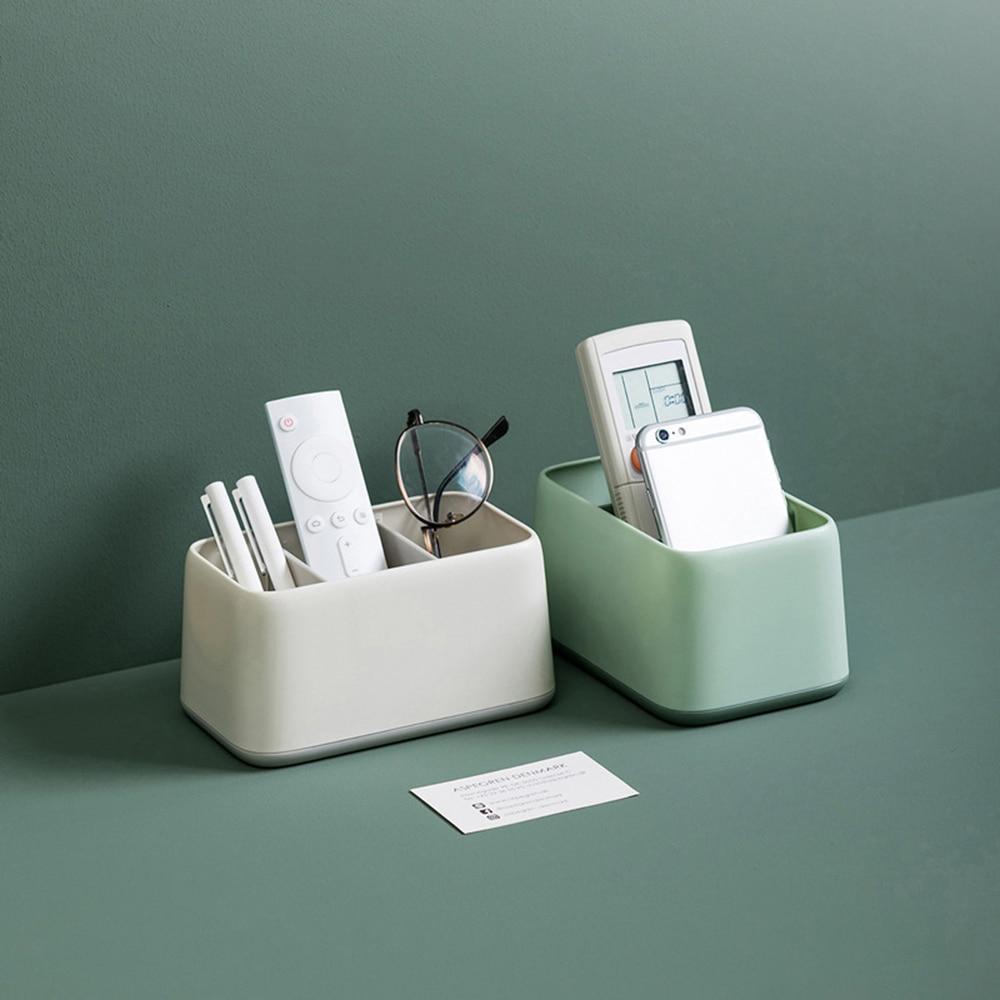 3 grade caixa de armazenamento doméstico plástico sundry classificando caixa controle remoto mesa chá sala organizador