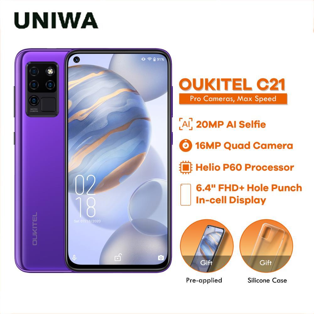 4+64GB Phone OUKITEL C21 4G Celular Smartphone Helio P60 20MP Selfie 6.4'' FHD+ Hole Punch Screen 4000mAh Octa Core Quad Camera