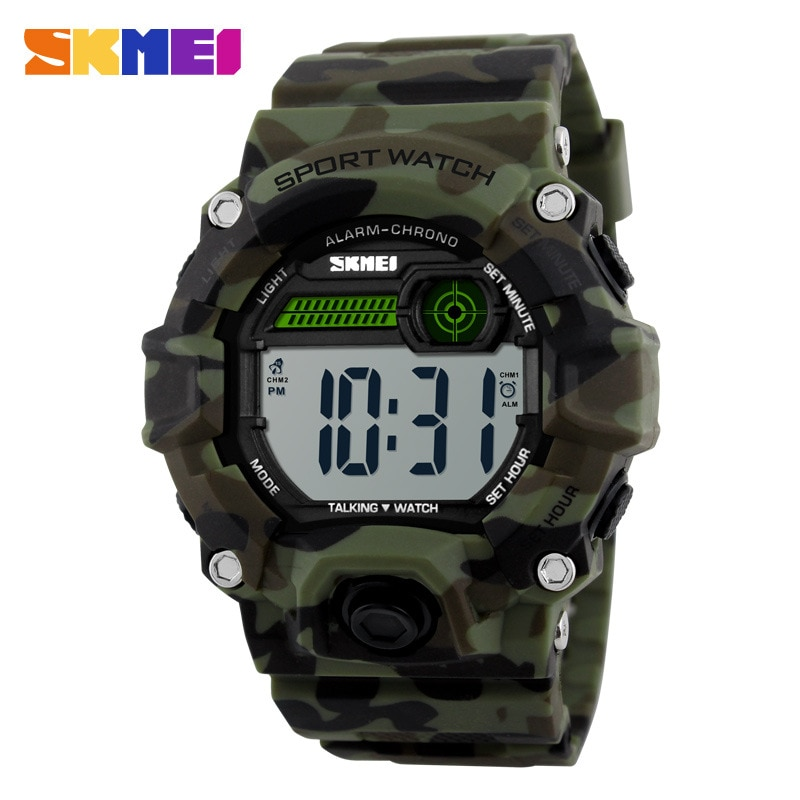 Esportes ao ar Tempo de Voz Relógio de Quartzo Livre Multifuncional Neutro Relógio Eletrônico Comércio Exterior Skmei1162
