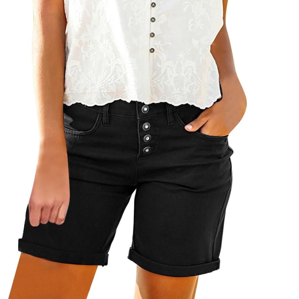 StylishBar Primavera Verano Shorts mujeres Denim Geans corto dos bolsillos Botón de pantalón de cintura alta cremallera caliente Shorts Feminino Damskie