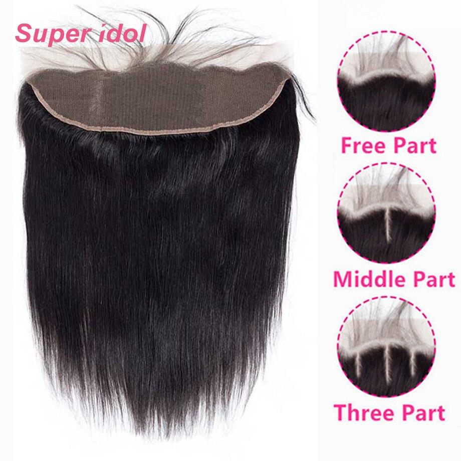 الدانتيل إغلاق أمامي مستقيم البرازيلي الشعر البشري 13x4 الحرة/الأوسط/ثلاثة جزء شعر ريمي إغلاق مع شعر الطفل اللون الطبيعي