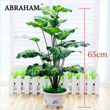 Grand arbre Monstera Tropical 65cm   Grand arbre bonsaï artificiel, plantes en plastique en pot, faux palmier, feuilles pour décoration de fête à la maison