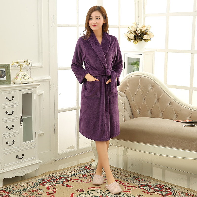 Women Men Soft Warm Coral Fleece Long Bathrobe Winter Kimono Flannel Bath Robe Nightgown Womens Dres