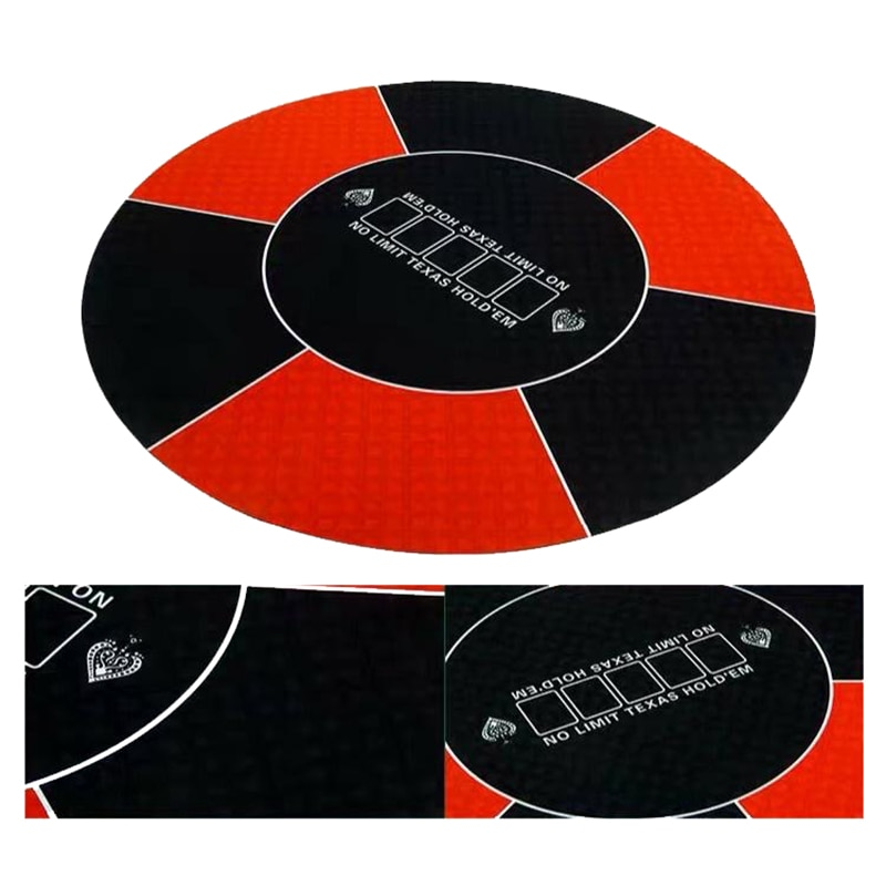 Техасский Холдем покерный макет классический красный черный 120 см резиновая скатерть круглый стол коврик макеты-1