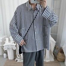 2019 hommes ample rayure impression hawaïen manches longues chemise français manchette chemises vêtements manteaux bleu/marron Camisa Masculina M-2XL