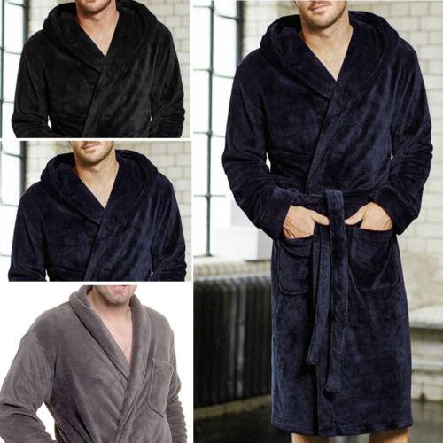 HIRIGIN Men% 27 зима теплые халаты толстые удлиненные плюшевые шаль халат кимоно дом одежда длинные рукава халат пальто пеньюар homme