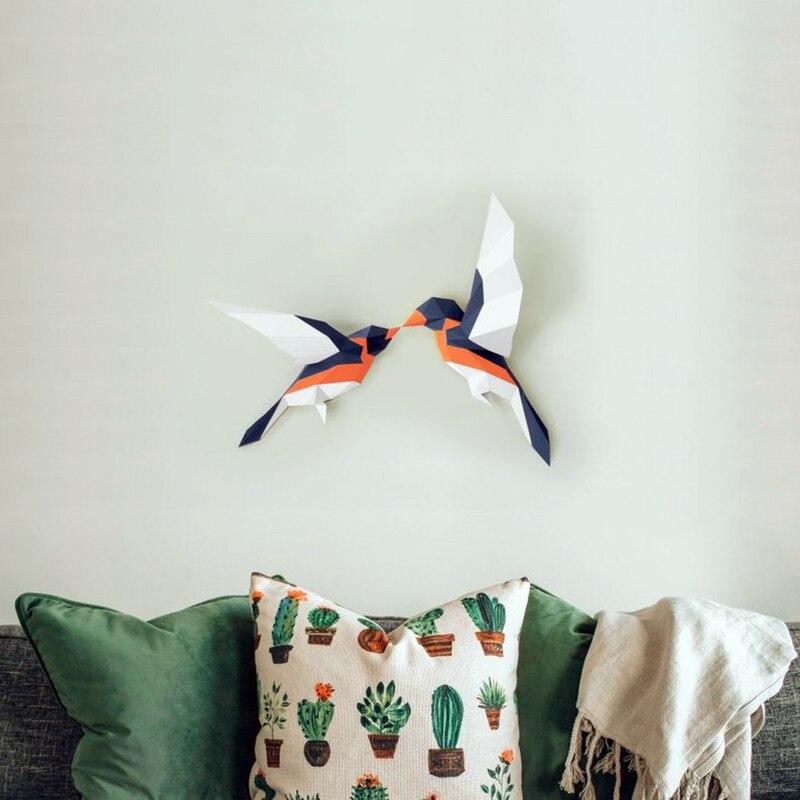 3D Love Birds DIY modelo de papel hecho a mano juguete colgante de pared estilo bohemio decoración de pared de animales Loft Decoración Para sala de estar arte artesanal